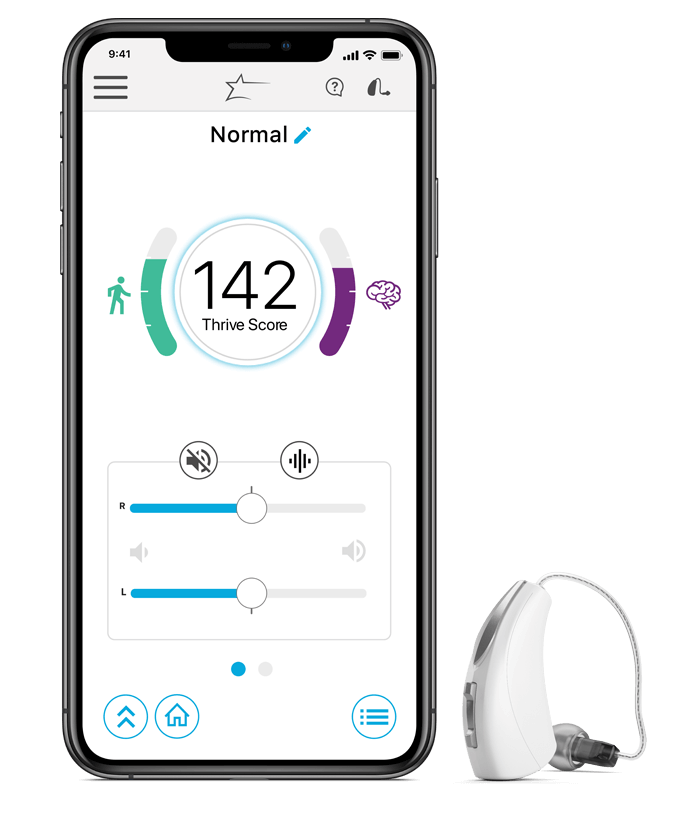 Livio AI hearing aid next to an iPhone X running the Thrive app
